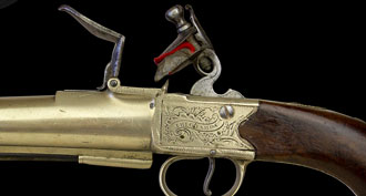 MAGNIFICENT PAIR OF RARE SILVER MOUNTED NAVAL PISTOLS BY RICHARD'S, NO 114 STRAND LONDON