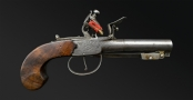 QUALITY ENGLISH MADE FLINTLOCK OVERCOAT PISTOL WITH BAYONET BY SHARPE, LONDON