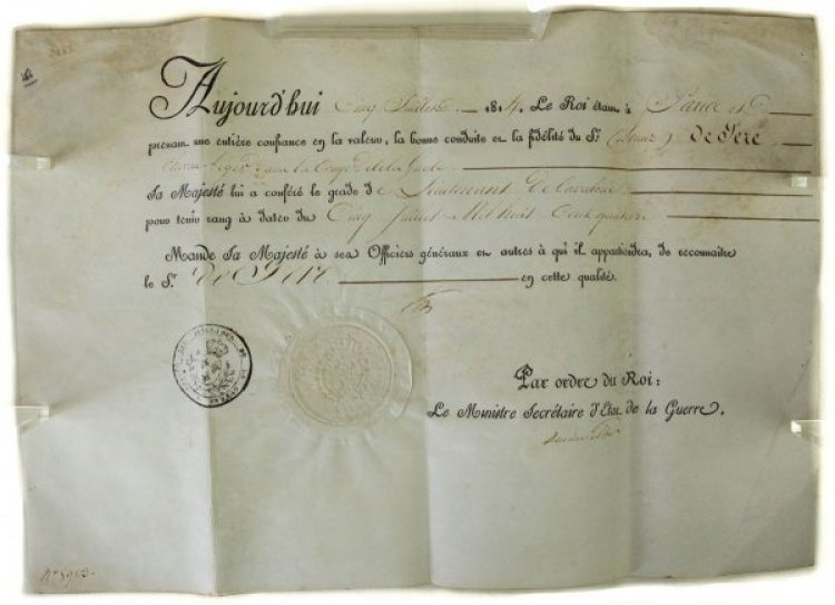 GRANT OF RANK - FRENCH FIRST EMPIRE 1814