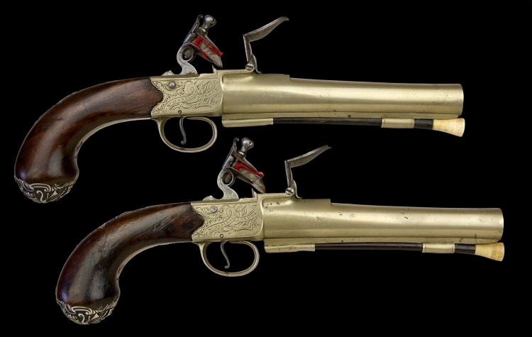 sold - MAGNIFICENT PAIR OF RARE SILVER MOUNTED NAVAL PISTOLS BY RICHARD'S, NO 114 STRAND LONDON - sold
