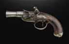 RARE AND UNUSUAL SILVER MOUNTED CONTINENTAL LEFT HANDED LOCK, BLUNDERBUSS TRAVELLING PISTOL