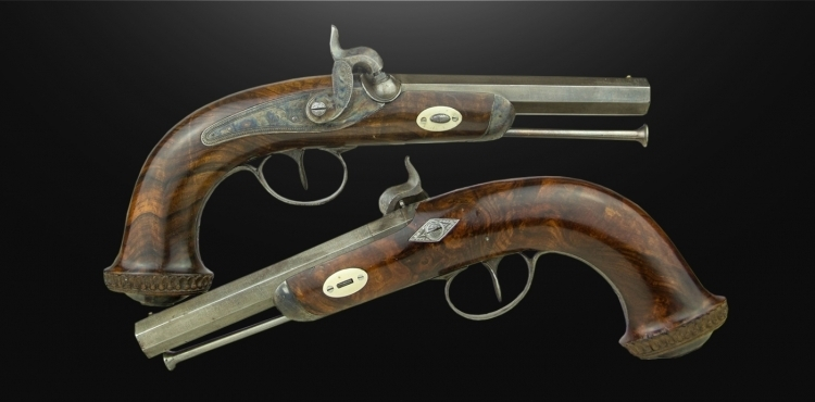 FINE PAIR OF CONTINENTAL PERCUSSION HOLSTER PISTOLS WITH 12MM RIFLED BARRELS