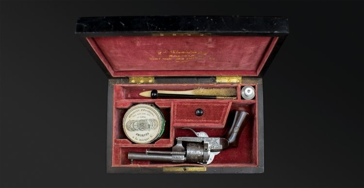 sold - FINE CASED 7MM REVOLVER BY EUGENE LEFAUCHEUX AND RETAILED BY CLAUDIN A PARIS - sold