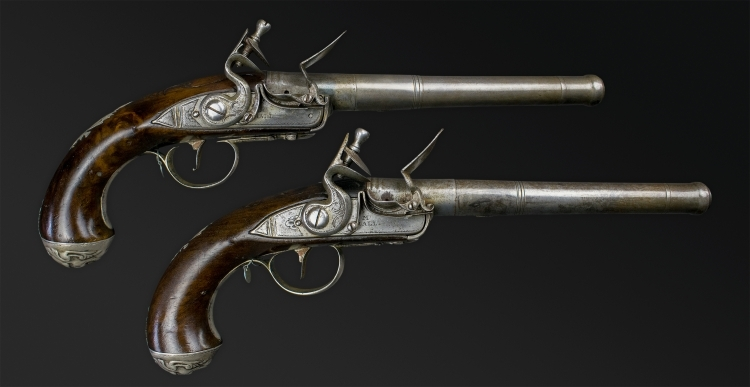 Sold - SUPERB AND FINE PAIR OF EARLY 18TH CENTURY SILVER MOUNTED QUEEN ANN PISTOLS SIGNED M HALL
