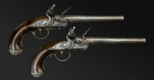 SUPERB AND FINE PAIR OF EARLY 18TH CENTURY SILVER MOUNTED QUEEN ANN PISTOLS SIGNED M HALL