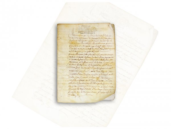 ANCIENT FRENCH DOCUMENT ON VELUM CIRCA 1800 OR THEREABOUTS