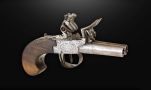 Sold - DOUBLE BARREL FLINTLOCK POCKET PISTOL SIGNED 'BUNNEY LONDON' CIRCA 1800
