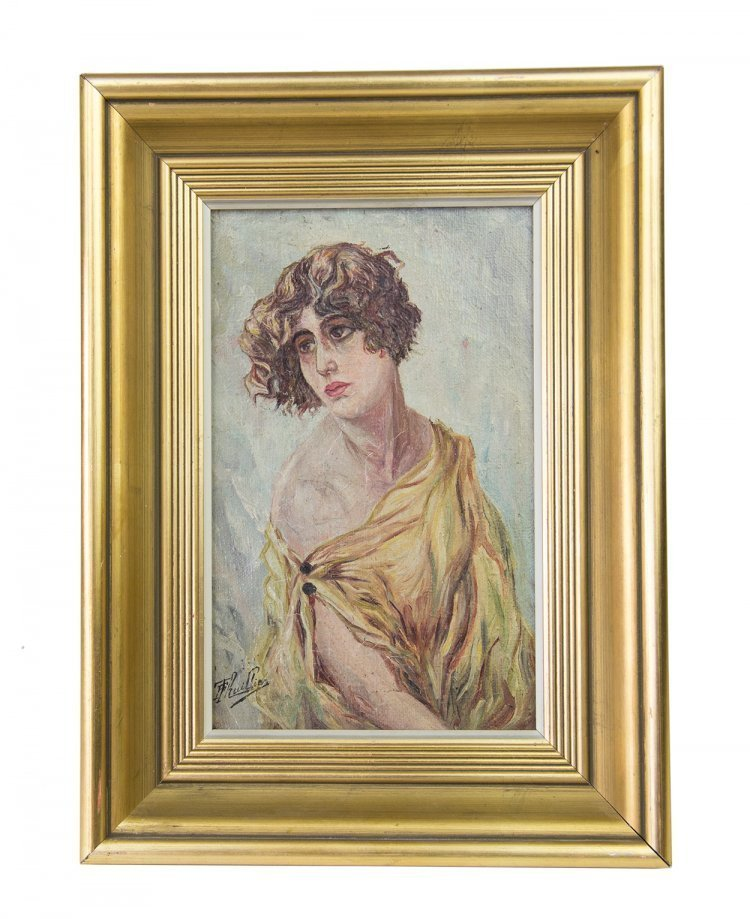 PRETTY PORTRAIT OIL ON CANVAS IN THE ART NOUVEAU STYLE, FRENCH SCHOOL SIGNED F THUILLIER, CIRCA 1900
