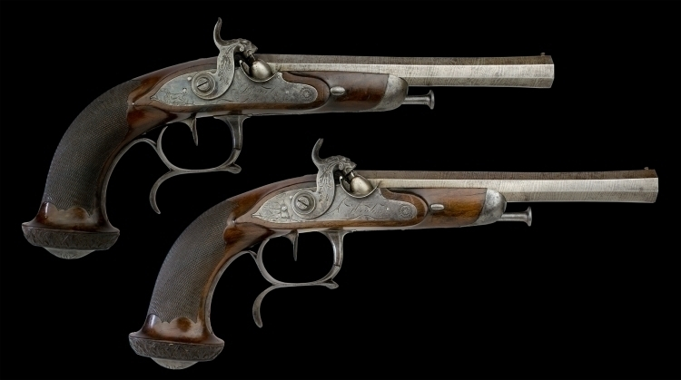 SUPERB AND FINE PAIR OF FRENCH RIFLED OFFICERS PISTOLS CIRCA 1840