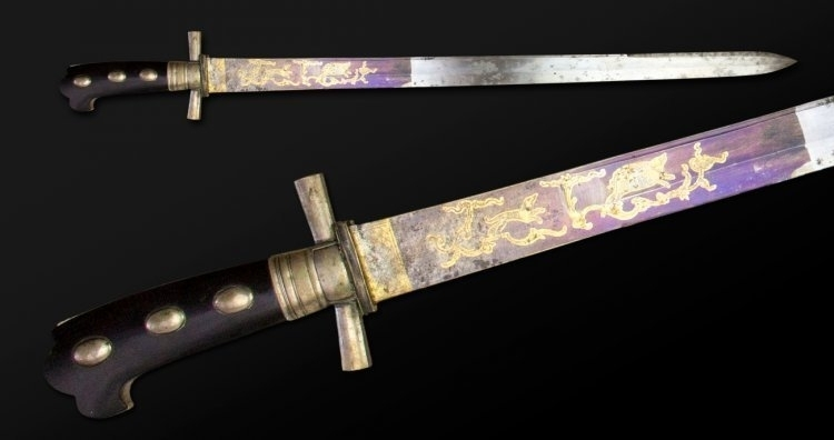Sold - FINE 18TH CENTURY FRENCH HUNTING HANGER WITH BLUE AND GILT BLADE