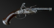 FINE FRENCH RIFLED TRAVELLING PISTOL SIGNED 'BARGE A PARIS' CIRCA 1770