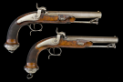 sold - PAIR OF RIFLED FRENCH OFFICERS PISTOLS OF MLE 1833 TYPE MARKED 1 & 2 RESPECTIVELY- sold