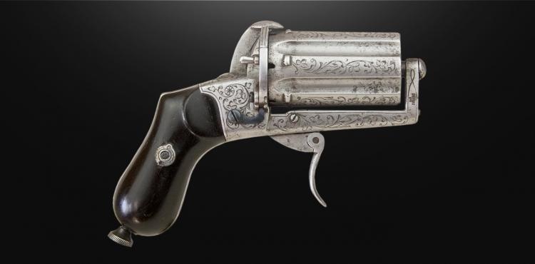 sold - DEPREZ 7MM LEFAUCHEUX 6 SHOT PEPPERBOX REVOLVER - sold