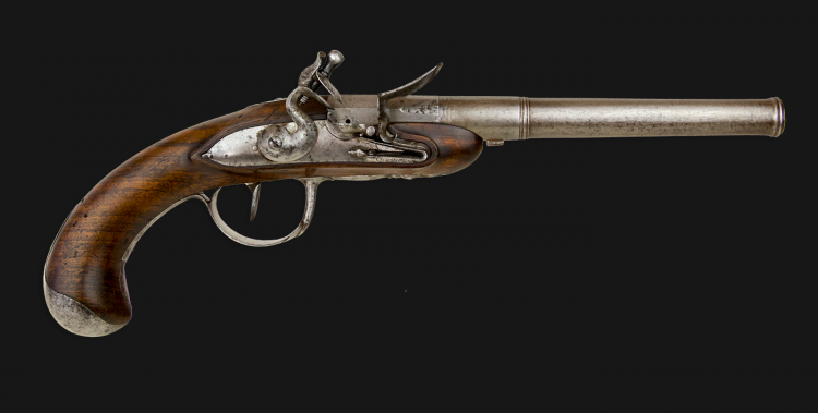 sold - FINE AND RARE FRENCH QUEEN ANNE STYLE PISTOL SIGNED CHARLEVILLE CIRCA 1770m-1790 - sold
