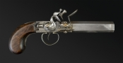 MOST UNUSUAL FLINTLOCK OVERCOAT PISTOL SIGNED MC KNIGHT, DUBLIN OF MUSKET BORE