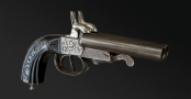FINE FRENCH DOUBLE BARREL 12MM LEFAUCHAUX SYSTEM TRAVELLING PISTOL