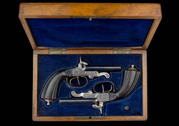 sold - FINE CASED PAIR OF 10MM LEFAUCHAUX SYSTEM DOUBLE BARREL TRAVELLING PISTOLS - sold
