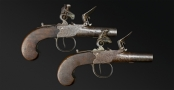 PAIR OF FLINTLOCK POCKET PISTOLS CIRCA 1800