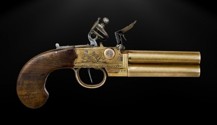 DOUBLE BARRELL ALL BRONZE TAP ACTION PISTOL SIGNED A ADAMS, LONDON CIRCA 1800