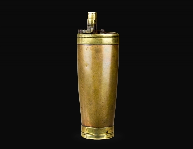 sold - THREE WAY POWDER FLASK FOR A PAIR OF PISTOLS CIRCA 1800 - sold