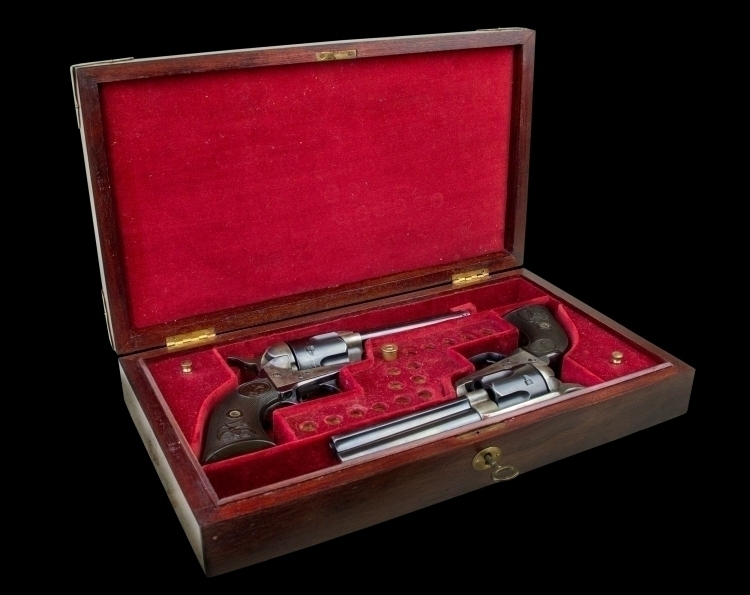 reserved PERIOD CASE FOR A PAIR OF COLT SINGLE ACTION ARMY REVOLVERS - reserved