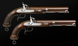 SUPERB PAIR OF 18 BORE OFICERS PISTOLS SIGNED GRINDLAY AND CO LONDON