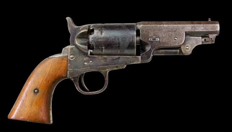 sold - A .35 SIX SHOT REVOLVER SIGNED COLT, MANUFACTURED IN BELGIUM ON LICENCE, CIRCA 1860 - sold