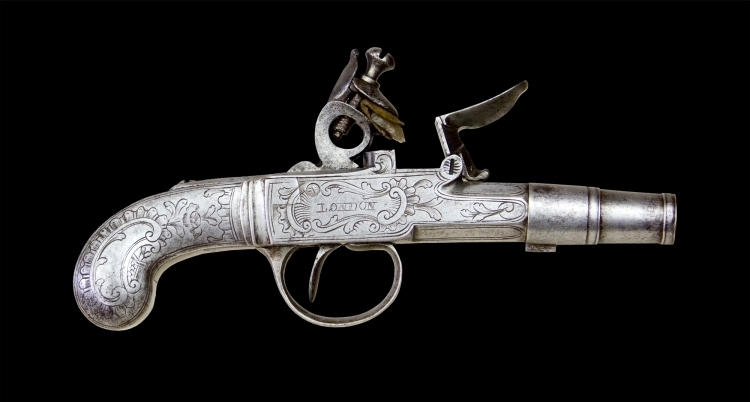 sold - FINE ALL STEEL FLINTLOCK POCKET PISTOL SIGNED GALISSE, LONDON, CIRCA 1770  - sold
