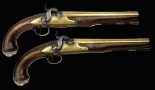 sold - PAIR OF SILVER MOUNTED NAVAL OFFICERS PISTOLS SIGNED KING LONDON, CIRCA 1780 - sold