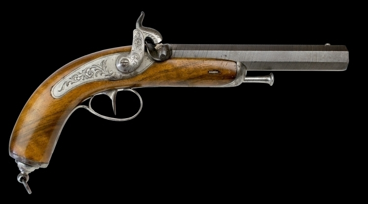 sold - LARGE BORE PERCUSSION BELGIUM MADE OFFICERS PISTOL, CIRCA 1830-40 - sold