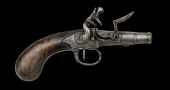 FINE AND RARE FRENCH QUEEN-ANNE POCKET PISTOL, SIGNED ALLEVIN, PARIS -CIRCA 1750