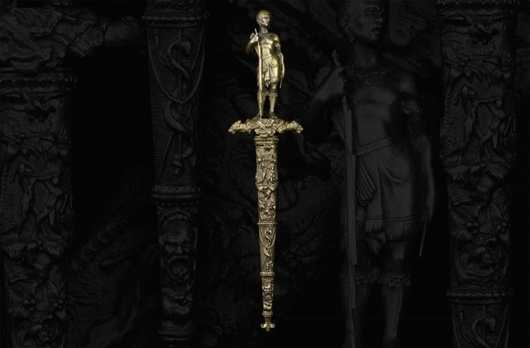 FINE BRONZE GILDED FIGURAL ROMANTIC DAGGER, CIRCA 1850 - sold
