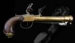 Sold - RARE AND UNUSUAL FRENCH NAVAL BLUNDERBUSS PISTOL WITH SPRUNG BAYONET