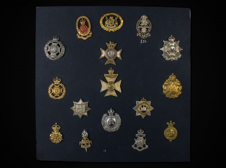 sold - COLLECTION OF HELMET/CAP BADGES - 19TH & 20TH CENTURY sold