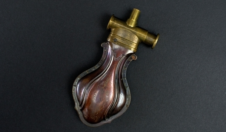 FINE AND RARE PISTOL FLASK MARKED LEPAGE A PARIS