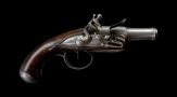 FRENCH CANNON BARRELLED FLINTLOCK OVERCOAT PISTOL CIRCA 1790