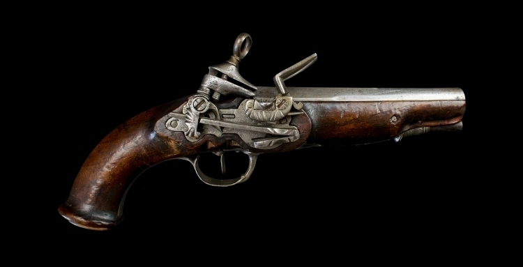 Sold - MID 18TH CENTURY SPANISH MIQUELET LOCKED PISTOL OF MILITARY TYPE