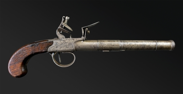LONG BOX-LOCK OVERCOAT PISTOL SIGNED ELSTON DONCASTER, CIRCA 1790