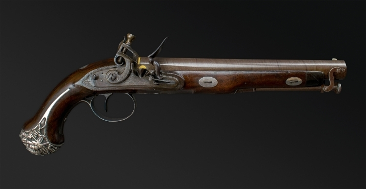 FINE 16 BORE OFFICER'S PISTOL BY TATHAM AND EGG