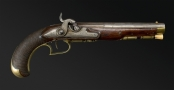 sold - ALSATIAN RIFLED OFFICERS PISTOL SIGNED 'GIRARDE ARQUEBUSIER A STRASBOURG' - sold