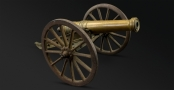 VICTORIAN 1/2 INCH BORE SIGNAL CANNON ON IRON CARRIAGE