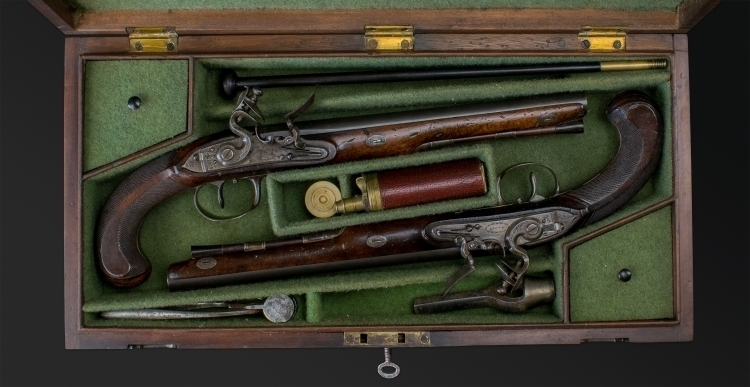 SUPERB PAIR OF FLINTLOCK DUELLING PISTOLS SIGNED BENNETT ROYAL EXCHANGE - reserved