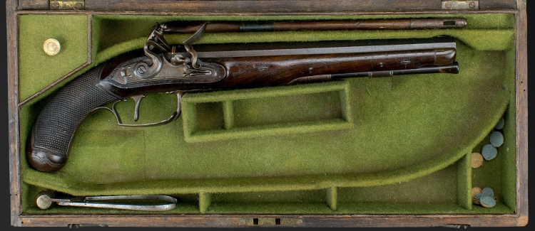 FINE CASED SINGLE DUELLING PISTOL BY DURS EGG