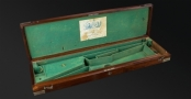 ORIGINAL LINED AND FITTED CASE FOR A PERCUSSION DOUBLE RIFLE BY JAMES PURDEY