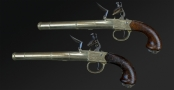 RARE LONG PAIR OF TUTANEG QUEEN ANNE BOX-LOCK PISTOLS SIGNED KETLAND & Co., CIRCA 1780