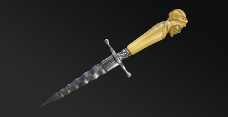 SUPERB AND RARE WAVY EDGED DAGGER MID 19TH CENTURY - sold