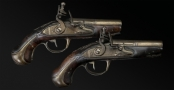 sold - PAIR OF FRENCH TRAVELLING PISTOLS SIGNED 'COTELLE A SAUMUR' - sold