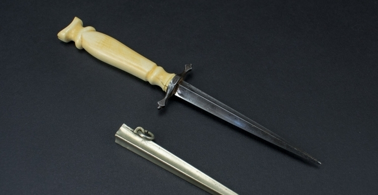 IVORY HILTED FRENCH PROSTITUTES DAGGER, 19TH CENTURY