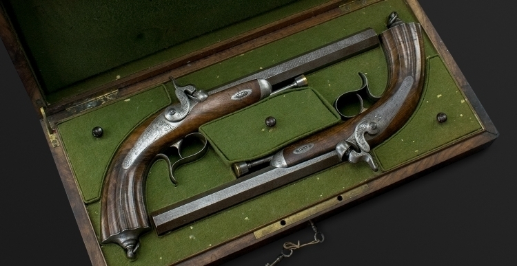 SUPERB PAIR OF CASED FRENCH ARTILLERY OFFICERS PISTOLS