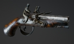 DOUBLE BARREL FRENCH TRAVELLING PISTOL CIRCA 1780